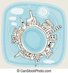 City Panorama - Naive spherical panorama of a city during...