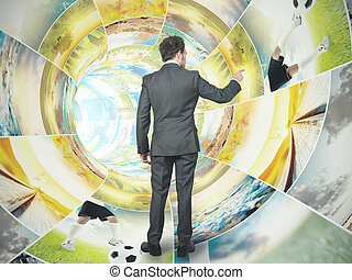 Businessman select an image from an image stream
