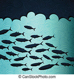 Ocean Life - Ocean life banner made of fancy paper, vector...