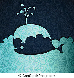 Whale banner made of fancy paper, vector eps8 illustration