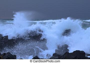 ocean storm  - big ocean storm ( Commander Islands )