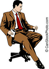 Businessman sitting on office chair - Vector illustration of...