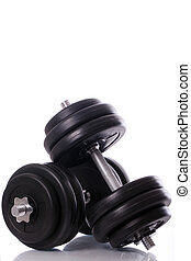 Big dumbells over white background - Big black dumbells over...