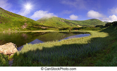 Summer landscape with lake in the mountains