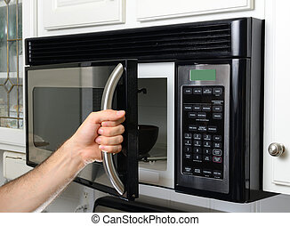 Hand Opening Microwave - opeing a microwave door