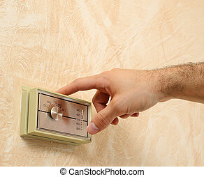 thermostat - adjusting the room temperature