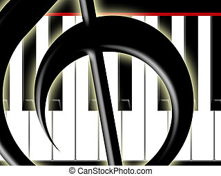 Treble clef and keys of t