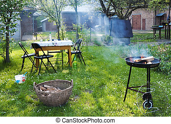 Barbecue in the garden - Old-fashioned barbecue in the...