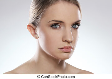 Portrait of beautiful woman with clean face