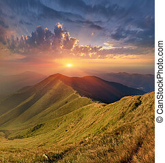 Beautiful autumn landscape in the Carpathian mountains -...