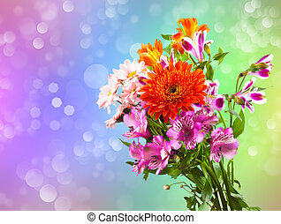 Bright flower bouquet on the colour bacground