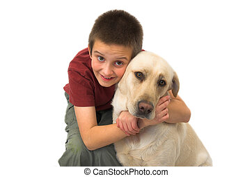 boy and dog, isolated on white