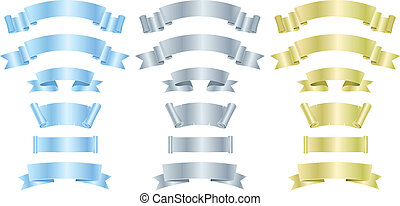 Silver, Metal And Gold Banners Or Ribbons - Illustration of...