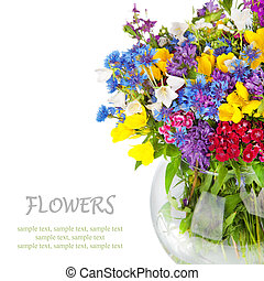 Beautiful Wild flowers bouquet in vase isolated on white....