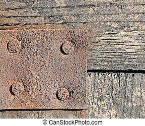 empty rust metal plate on wooden background