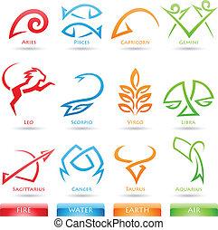 Simplistic, zodiak, Gwiazda, znaki