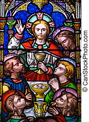 Last Supper Stained Glass window - A Victorian stained glass...