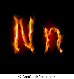 Fiery font. Letter N. Illustration on black background