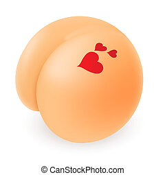 Buttocks - Funny Cartoon with Hearts Illustration on white...