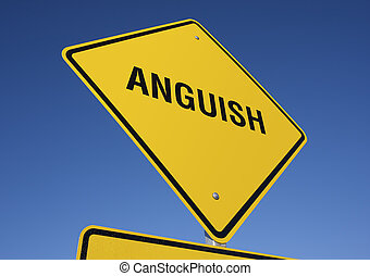 Anguish road sign with deep blue sky background. Contains...