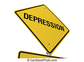 Depression road sign isolated on a white background....
