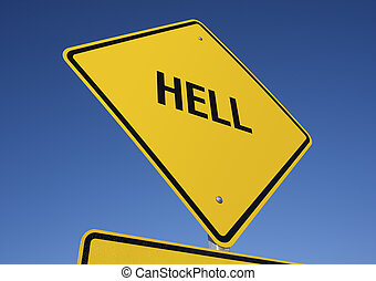 Hell road sign with deep blue sky background. Contains...