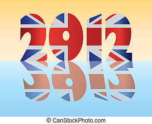 London England 2012 Silhouette Flag Illustration