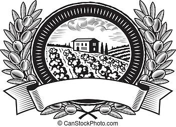 Olive harvest label black and white - Olive harvest label in...
