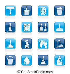 Cleaning and hygiene icons - vector icon set