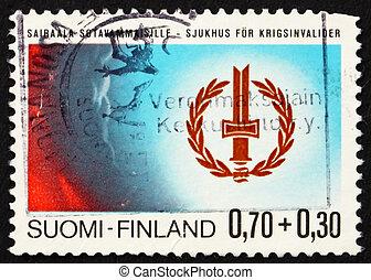 Postage stamp Finland 1976 Disabled War Veterans? Emblem -...