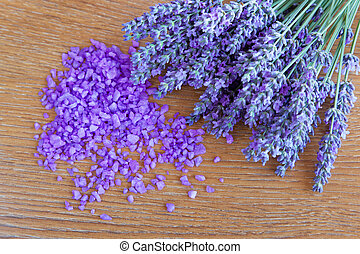 Lavender flowers and salt to the bathroom