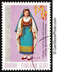 Postage stamp Finland 1972 Woman from Kaukola