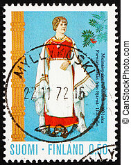 Postage stamp Finland 1972 Costume from Perni