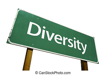Diversity road sign isolated on a white background Contains...