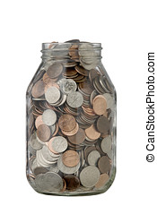 save a little - quart jar full of coins,...