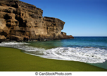 Green sand beach on Big island, Hawaii