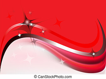 Abstract waves and stars on a red background with white...