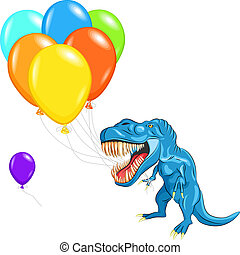 blue happy Tyrannosaurus with sharp teeth and claws with...