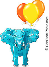 Vector blue African elephant with multi-colored balloons