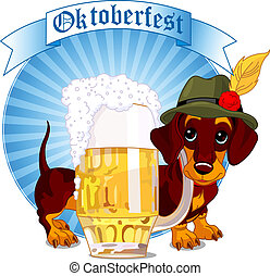 Oktoberfest dog - Oktoberfest design of dachshund dog and a...