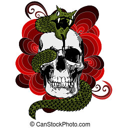 Skull with snake - Illustration of skull with snake.