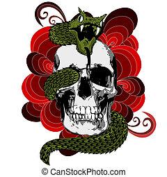 Skull with snake - Illustration of skull with snake.