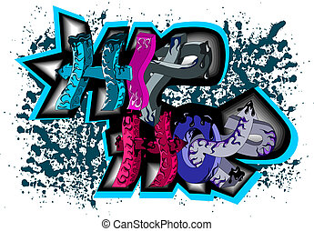 Graffiti sign hip hop - Illustration of graffiti sign hip...
