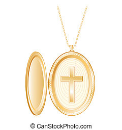Christian Cross Gold Locket, Chain - Vintage gold locket...