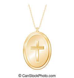 Christian Cross Gold Locket, Chain - Engraved vintage...