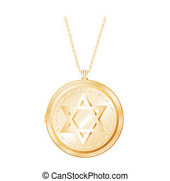 Star of David Gold Locket, Necklace - Engraved Star of David...