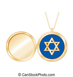 Star of David Gold Locket, Necklace - Star of David in gold...