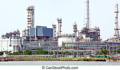 Panorama of Oil refinery plant - landscape of Oil refinery...