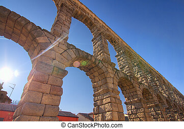 Majestic Image of the Ancient Aqueduct in Segovia Spain