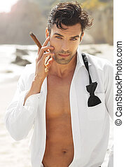 Sexy cool guy - Great looking sexy male model with open...